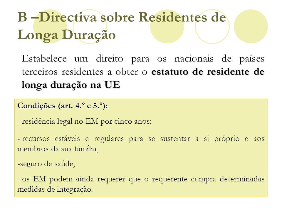 B –Directiva sobre Residentes de Longa Duração estatuto de residente de longa duração na UE Estabelece um direito para os nacionais de países terceiro