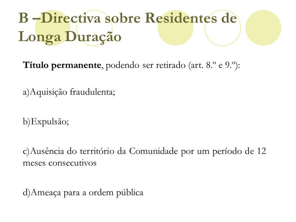 B –Directiva sobre Residentes de Longa Duração Título permanente Título permanente, podendo ser retirado (art. 8.º e 9.º): a)Aquisição fraudulenta; b)
