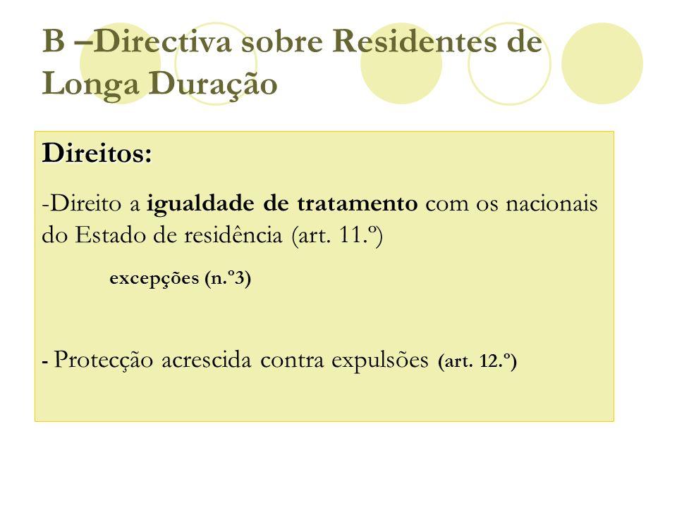 B –Directiva sobre Residentes de Longa Duração Direitos: -Direito a igualdade de tratamento com os nacionais do Estado de residência (art. 11.º) excep