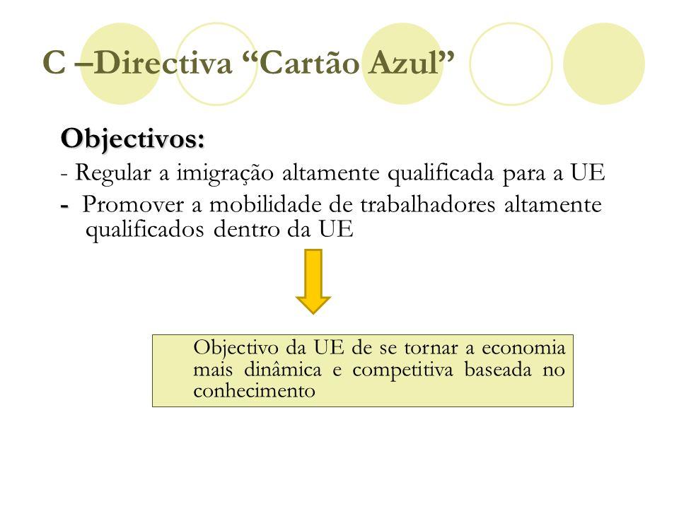 C –Directiva Cartão Azul Objectivos: - Regular a imigração altamente qualificada para a UE - - Promover a mobilidade de trabalhadores altamente qualif