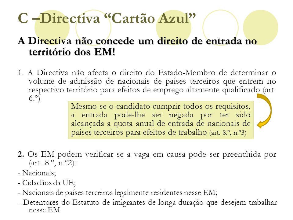 não concede um direito de entrada no território dos EM! A Directiva não concede um direito de entrada no território dos EM! 1. A Directiva não afecta