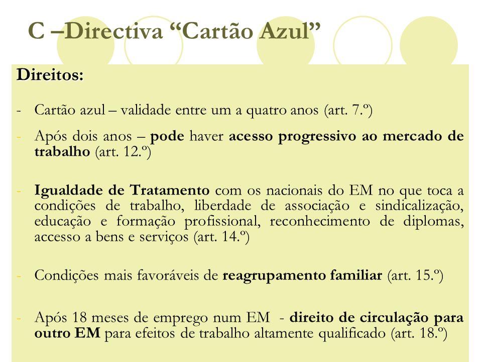 C –Directiva Cartão AzulDireitos: - Cartão azul – validade entre um a quatro anos (art. 7.º) -Após dois anos – pode haver acesso progressivo ao mercad
