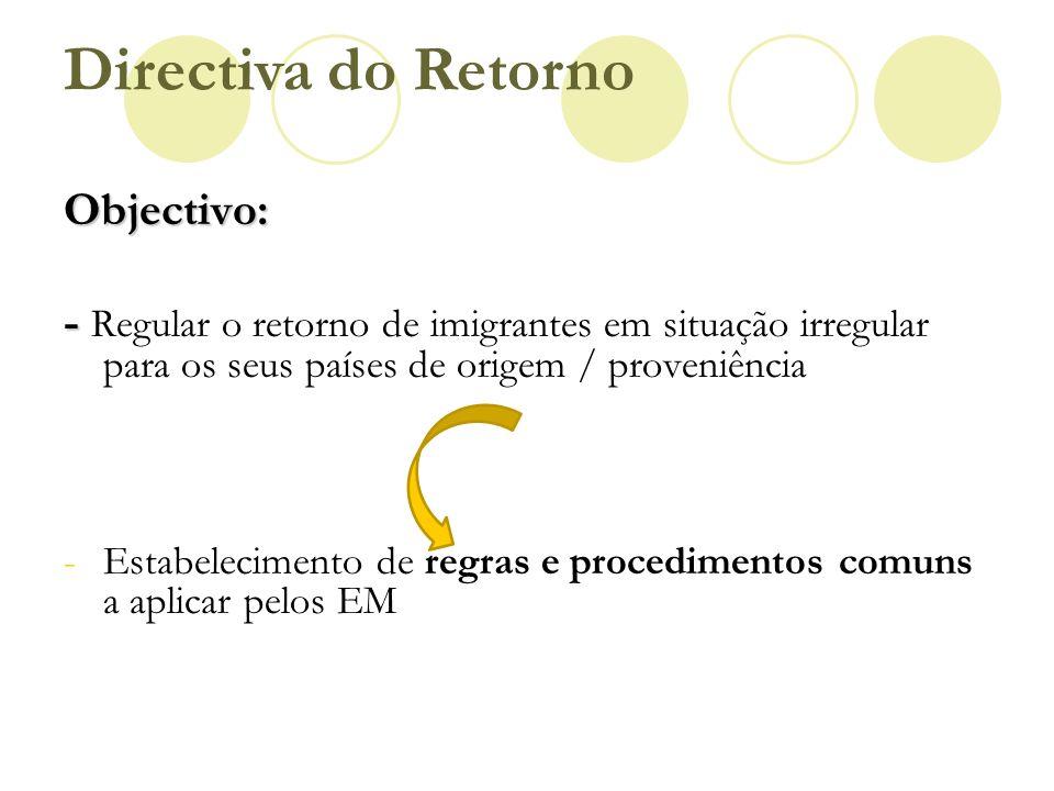 Directiva do Retorno Objectivo: - - Regular o retorno de imigrantes em situação irregular para os seus países de origem / proveniência -Estabeleciment