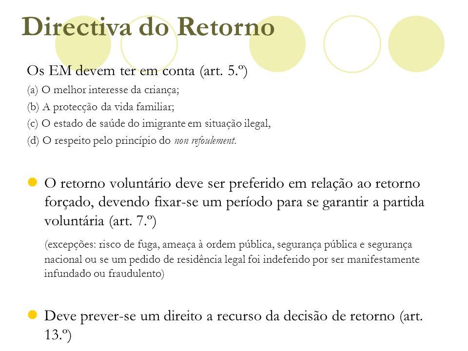 Os EM devem ter em conta (art. 5.º) (a) O melhor interesse da criança; (b) A protecção da vida familiar; (c) O estado de saúde do imigrante em situaçã