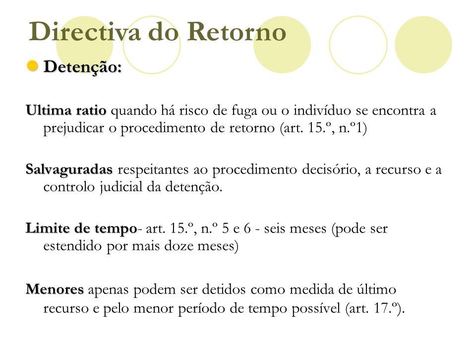 Detenção: Detenção: Ultima ratio Ultima ratio quando há risco de fuga ou o indivíduo se encontra a prejudicar o procedimento de retorno (art. 15.º, n.