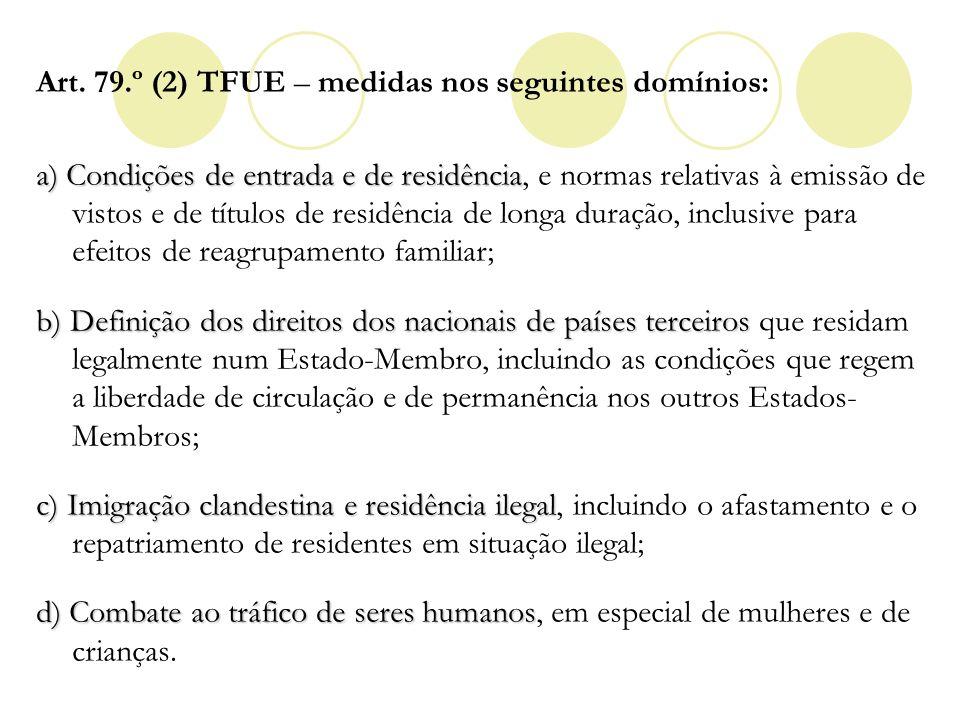 Art. 79.º (2) TFUE – medidas nos seguintes domínios: a) Condições de entrada e de residência a) Condições de entrada e de residência, e normas relativ
