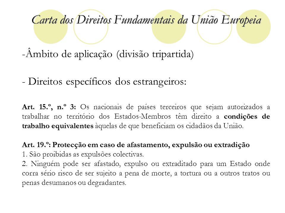 Carta dos Direitos Fundamentais da União Europeia -Âmbito de aplicação (divisão tripartida) - Direitos específicos dos estrangeiros: Art. 15.º, n.º 3: