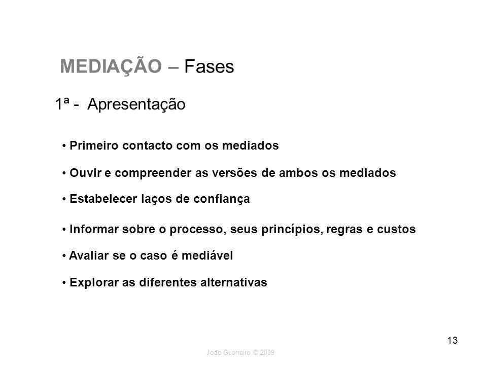 João Guerreiro © 2009 13 MEDIAÇÃO – Fases 1ª - Apresentação Primeiro contacto com os mediados Ouvir e compreender as versões de ambos os mediados Esta