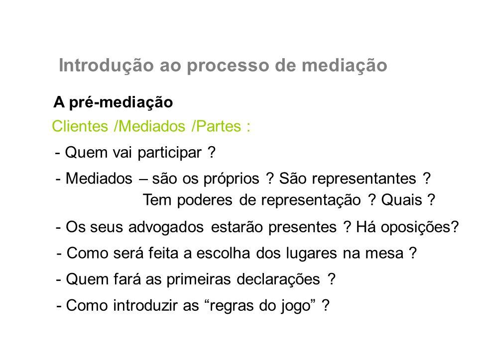 A pré-mediação Introdução ao processo de mediação Clientes /Mediados /Partes : - Quem vai participar ? - Mediados – são os próprios ? São representant