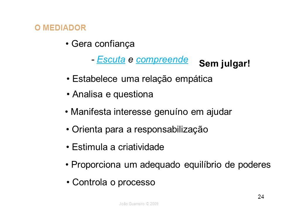 João Guerreiro © 2009 24 O MEDIADOR Gera confiança - Escuta e compreende Estabelece uma relação empática Analisa e questiona Sem julgar! Orienta para