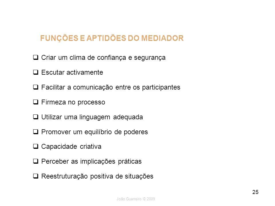 João Guerreiro © 2009 25 Criar um clima de confiança e segurança Escutar activamente Facilitar a comunicação entre os participantes Firmeza no process