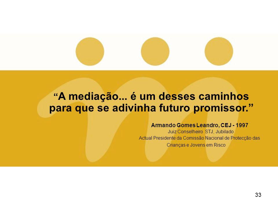 33 A mediação... é um desses caminhos para que se adivinha futuro promissor. Armando Gomes Leandro, CEJ - 1997 Juiz Conselheiro STJ, Jubilado Actual P