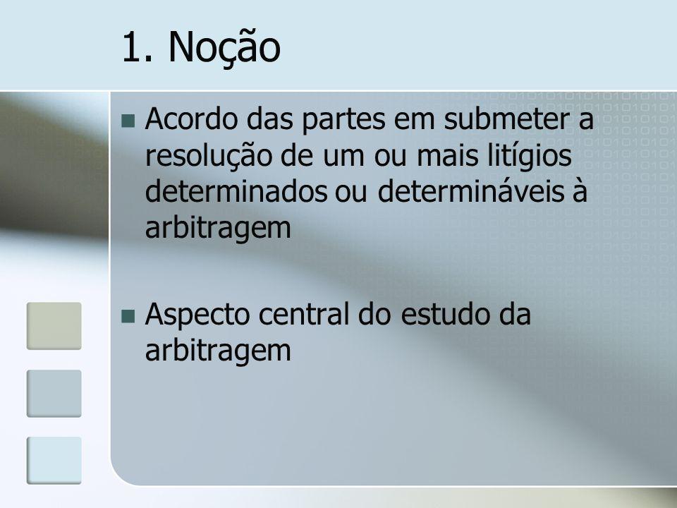 1. Noção Acordo das partes em submeter a resolução de um ou mais litígios determinados ou determináveis à arbitragem Aspecto central do estudo da arbi