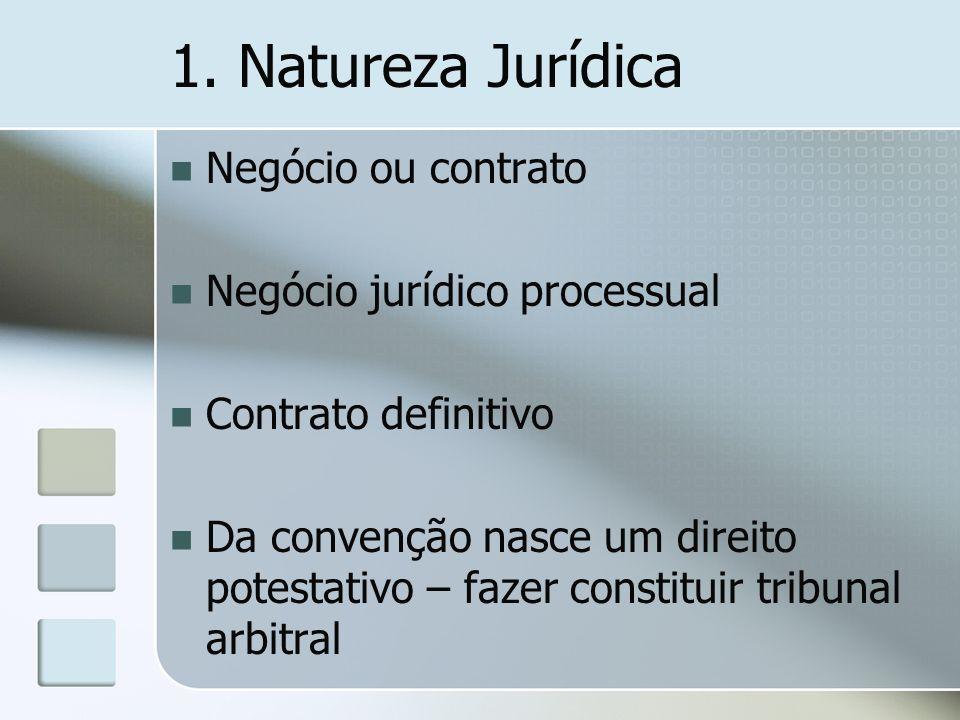 1. Natureza Jurídica Negócio ou contrato Negócio jurídico processual Contrato definitivo Da convenção nasce um direito potestativo – fazer constituir