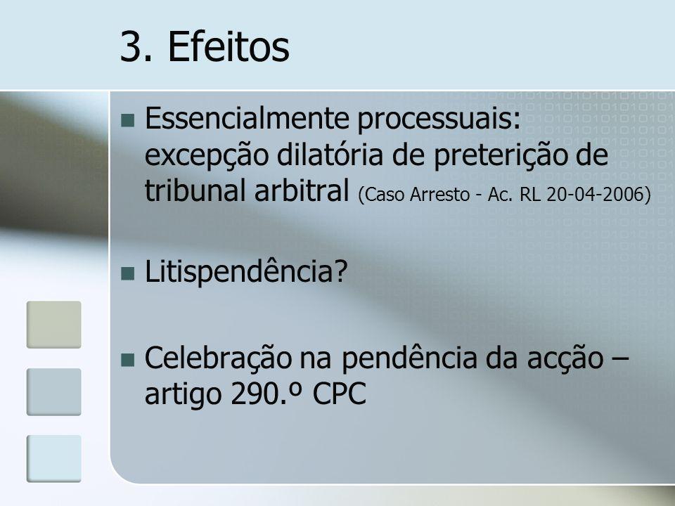 3. Efeitos Essencialmente processuais: excepção dilatória de preterição de tribunal arbitral (Caso Arresto - Ac. RL 20-04-2006) Litispendência? Celebr
