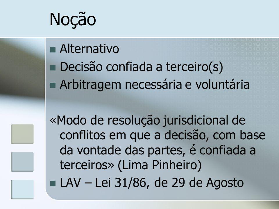 Noção Alternativo Decisão confiada a terceiro(s) Arbitragem necessária e voluntária «Modo de resolução jurisdicional de conflitos em que a decisão, co