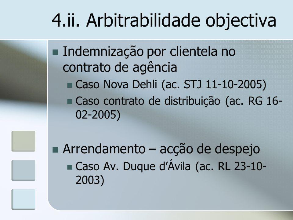 4.ii. Arbitrabilidade objectiva Indemnização por clientela no contrato de agência Caso Nova Dehli (ac. STJ 11-10-2005) Caso contrato de distribuição (