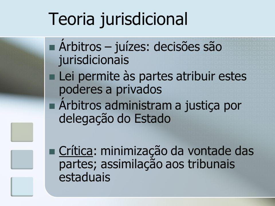 Teoria jurisdicional Árbitros – juízes: decisões são jurisdicionais Lei permite às partes atribuir estes poderes a privados Árbitros administram a jus