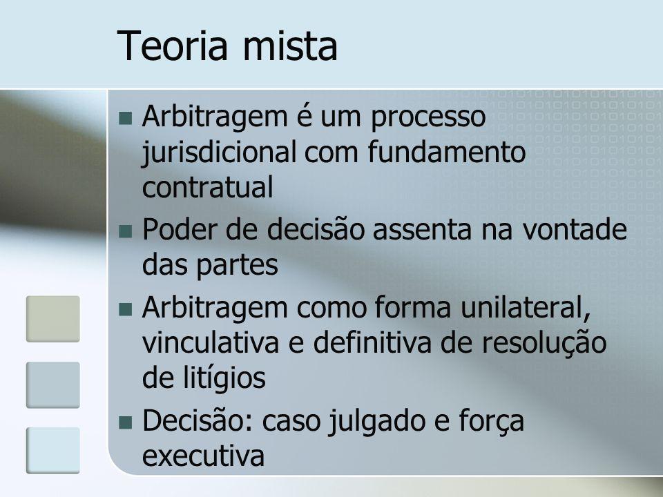 Teoria mista Arbitragem é um processo jurisdicional com fundamento contratual Poder de decisão assenta na vontade das partes Arbitragem como forma uni