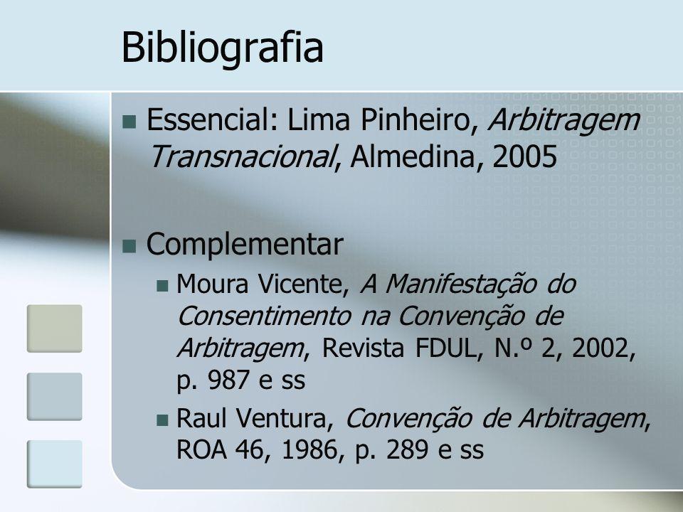 Bibliografia Essencial: Lima Pinheiro, Arbitragem Transnacional, Almedina, 2005 Complementar Moura Vicente, A Manifestação do Consentimento na Convenç