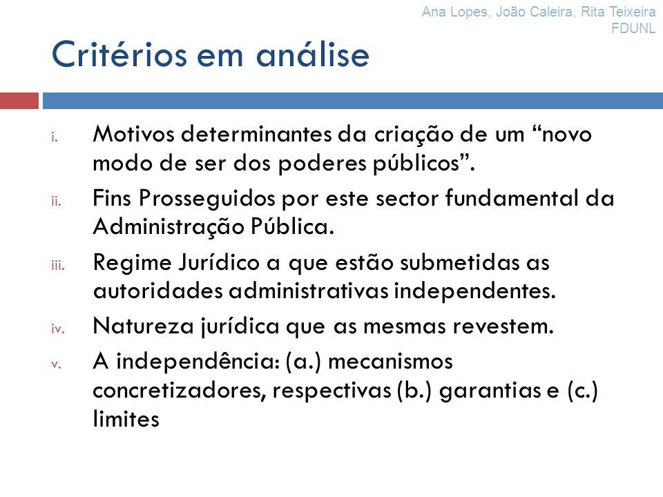 Critérios em análise i. Motivos determinantes da criação de um novo modo de ser dos poderes públicos. ii. Fins Prosseguidos por este sector fundamenta