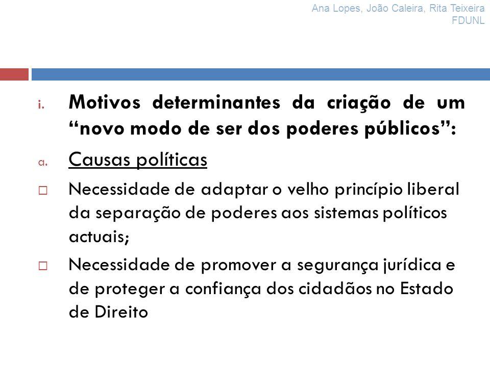 i. Motivos determinantes da criação de um novo modo de ser dos poderes públicos: a. Causas políticas Necessidade de adaptar o velho princípio liberal