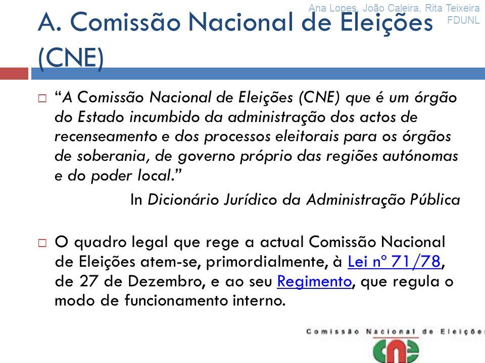 A. Comissão Nacional de Eleições (CNE) A Comissão Nacional de Eleições (CNE) que é um órgão do Estado incumbido da administração dos actos de recensea