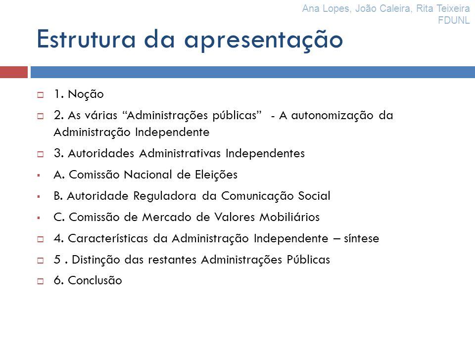 Estrutura da apresentação 1. Noção 2. As várias Administrações públicas - A autonomização da Administração Independente 3. Autoridades Administrativas
