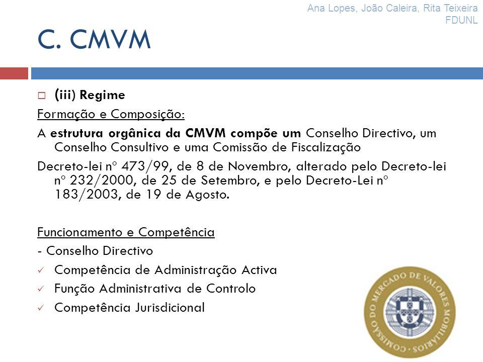 C. CMVM ( iii) Regime Formação e Composição: A estrutura orgânica da CMVM compõe um Conselho Directivo, um Conselho Consultivo e uma Comissão de Fisca