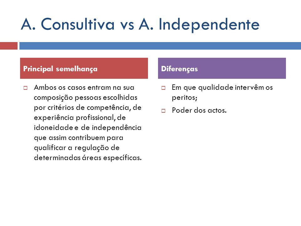 A. Consultiva vs A. Independente Ambos os casos entram na sua composição pessoas escolhidas por critérios de competência, de experiência profissional,