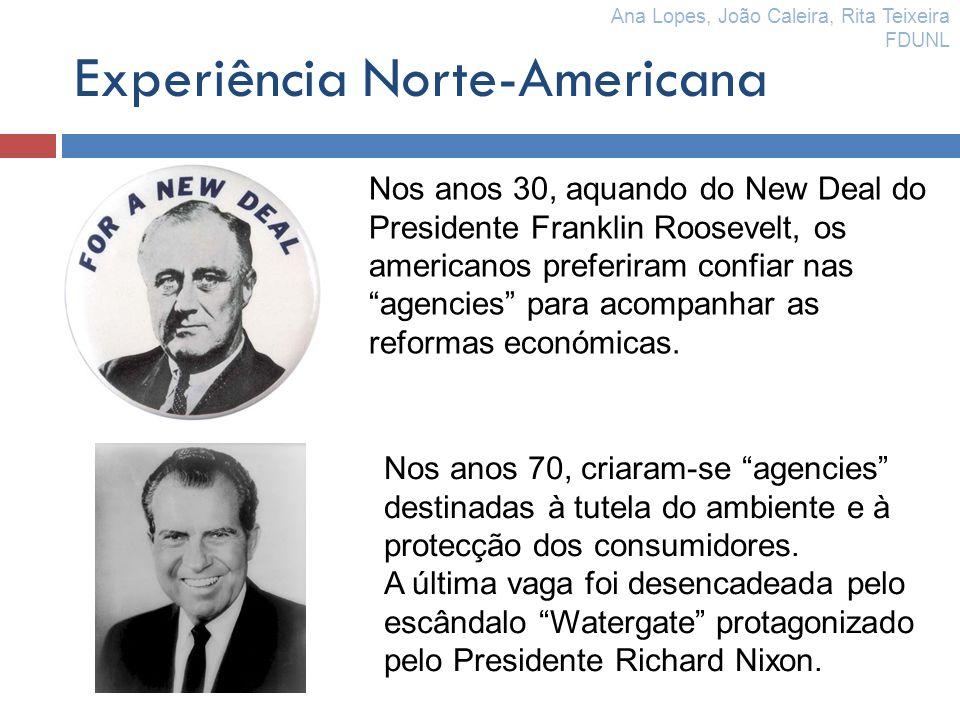 Experiência Norte-Americana Nos anos 30, aquando do New Deal do Presidente Franklin Roosevelt, os americanos preferiram confiar nas agencies para acom