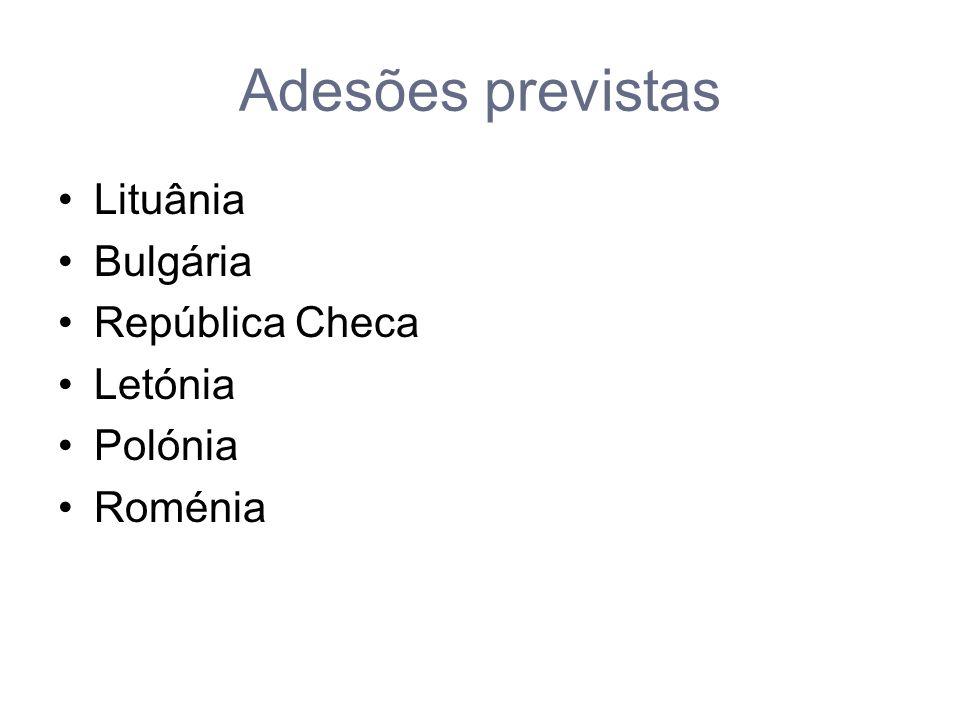 Adesões previstas Lituânia Bulgária República Checa Letónia Polónia Roménia