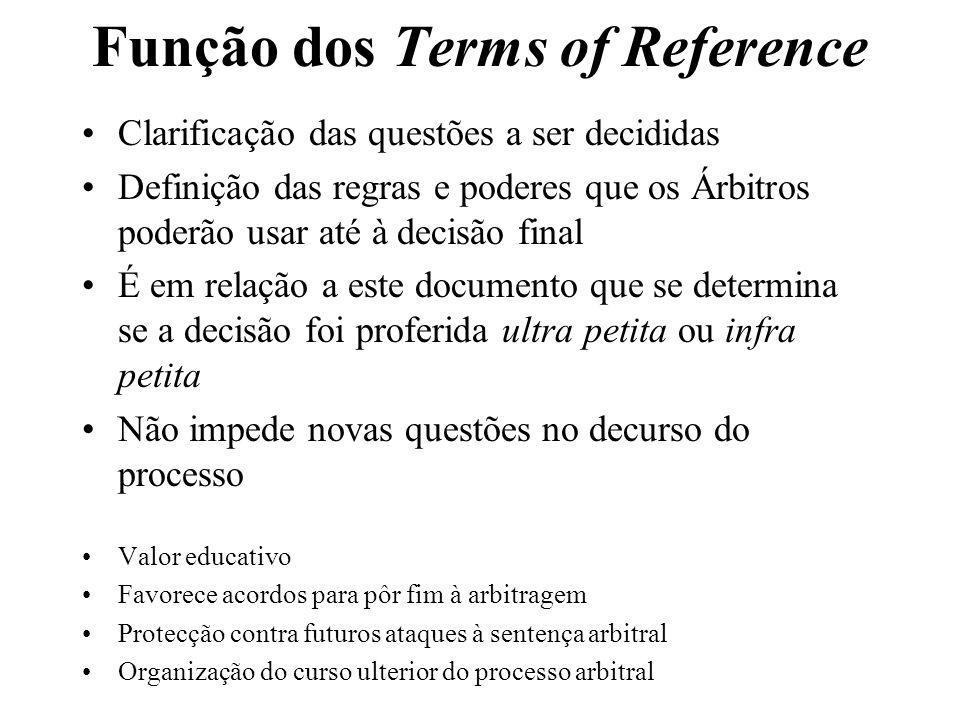 Função dos Terms of Reference Clarificação das questões a ser decididas Definição das regras e poderes que os Árbitros poderão usar até à decisão fina