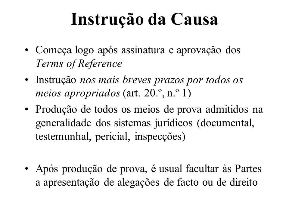 Instrução da Causa Começa logo após assinatura e aprovação dos Terms of Reference Instrução nos mais breves prazos por todos os meios apropriados (art