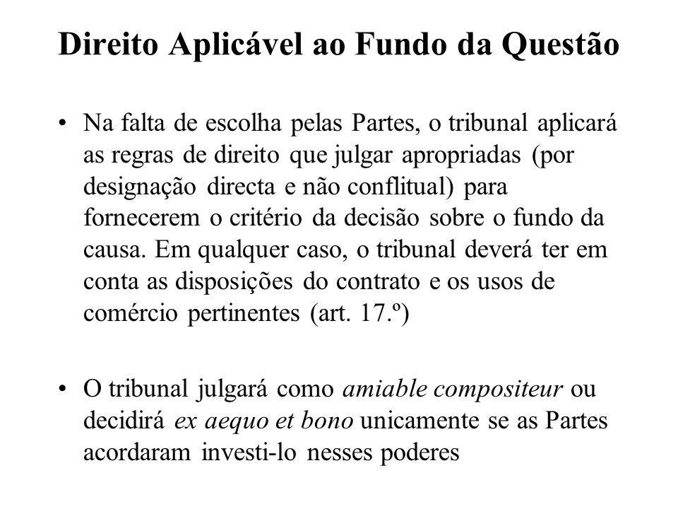 Direito Aplicável ao Fundo da Questão Na falta de escolha pelas Partes, o tribunal aplicará as regras de direito que julgar apropriadas (por designaçã