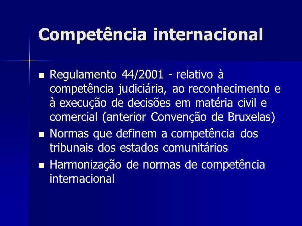 Competência internacional Regulamento 44/2001 - Regulamento 44/2001 - relativo à competência judiciária, ao reconhecimento e à execução de decisões em