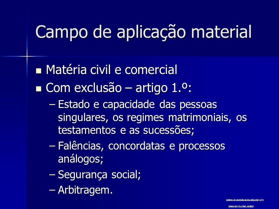 Campo de aplicação material Matéria civil e comercial Matéria civil e comercial Com exclusão – artigo 1.º: Com exclusão – artigo 1.º: –Estado e capaci