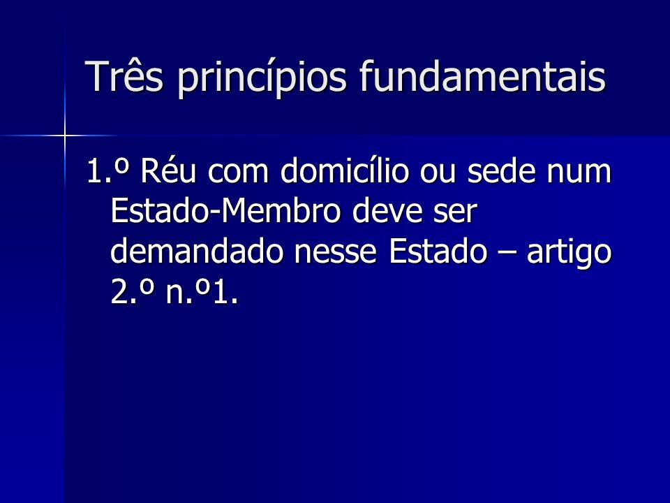 Três princípios fundamentais 1.º Réu com domicílio ou sede num Estado-Membro deve ser demandado nesse Estado – artigo 2.º n.º1.