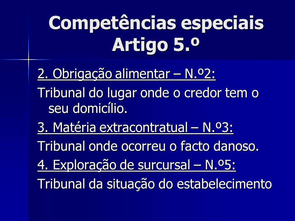 Competências especiais Artigo 5.º 2. Obrigação alimentar – N.º2: Tribunal do lugar onde o credor tem o seu domicílio. 3. Matéria extracontratual – N.º