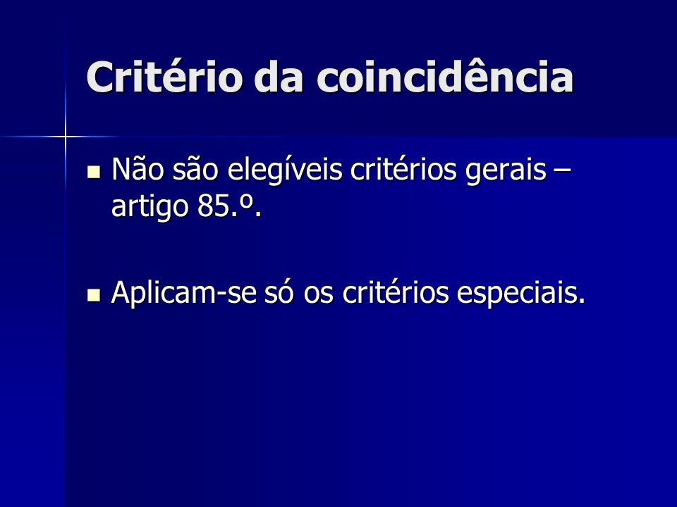 Critério da coincidência Não são elegíveis critérios gerais – artigo 85.º. Não são elegíveis critérios gerais – artigo 85.º. Aplicam-se só os critério