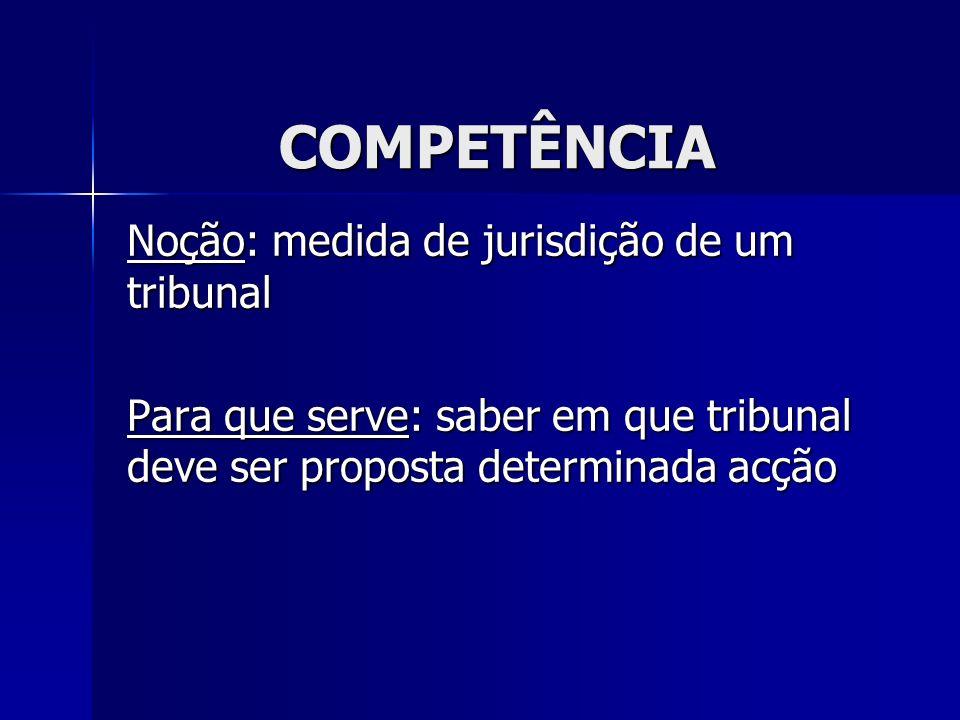 COMPETÊNCIA Noção: medida de jurisdição de um tribunal Para que serve: saber em que tribunal deve ser proposta determinada acção
