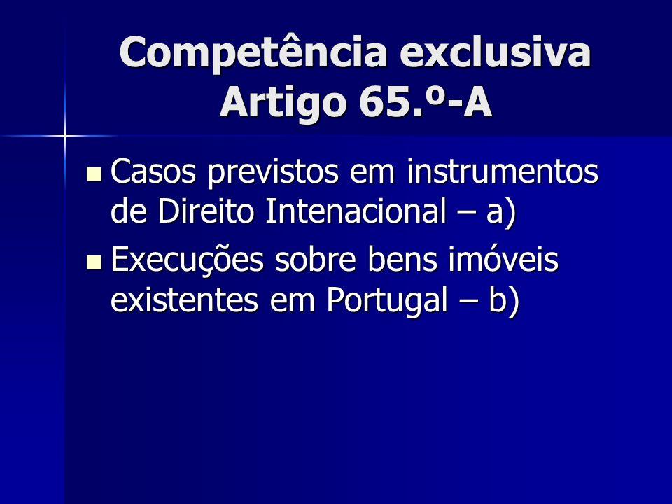 Competência exclusiva Artigo 65.º-A Casos previstos em instrumentos de Direito Intenacional – a) Casos previstos em instrumentos de Direito Intenacion