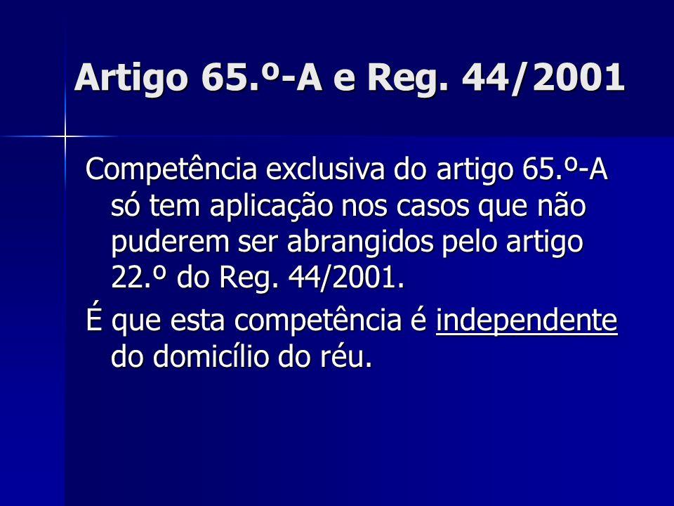Artigo 65.º-A e Reg. 44/2001 Competência exclusiva do artigo 65.º-A só tem aplicação nos casos que não puderem ser abrangidos pelo artigo 22.º do Reg.