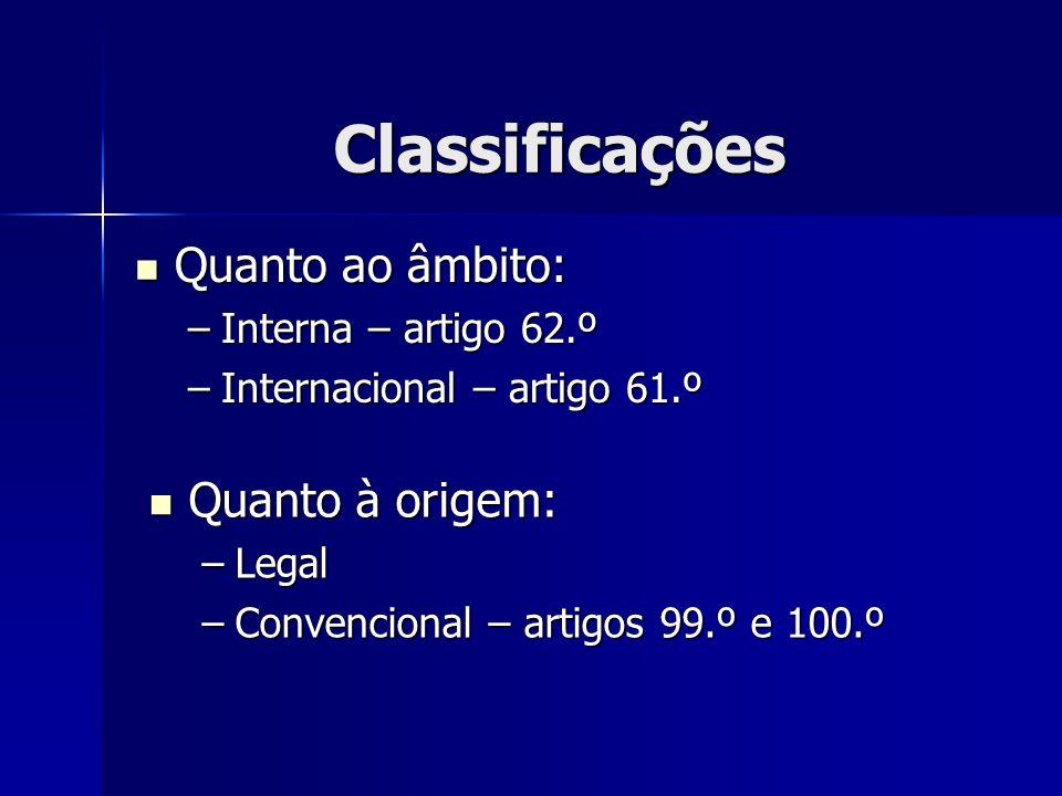 Classificações Quanto ao âmbito: Quanto ao âmbito: –Interna – artigo 62.º –Internacional – artigo 61.º Quanto à origem: Quanto à origem: –Legal –Conve