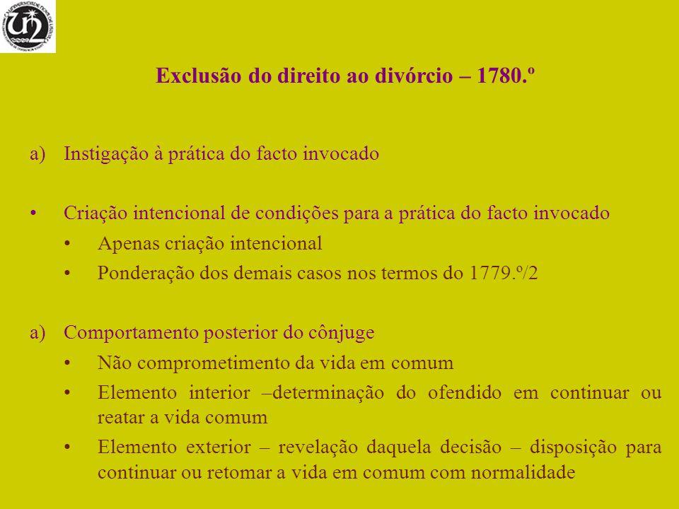 Exclusão do direito ao divórcio – 1780.º a)Instigação à prática do facto invocado Criação intencional de condições para a prática do facto invocado Ap
