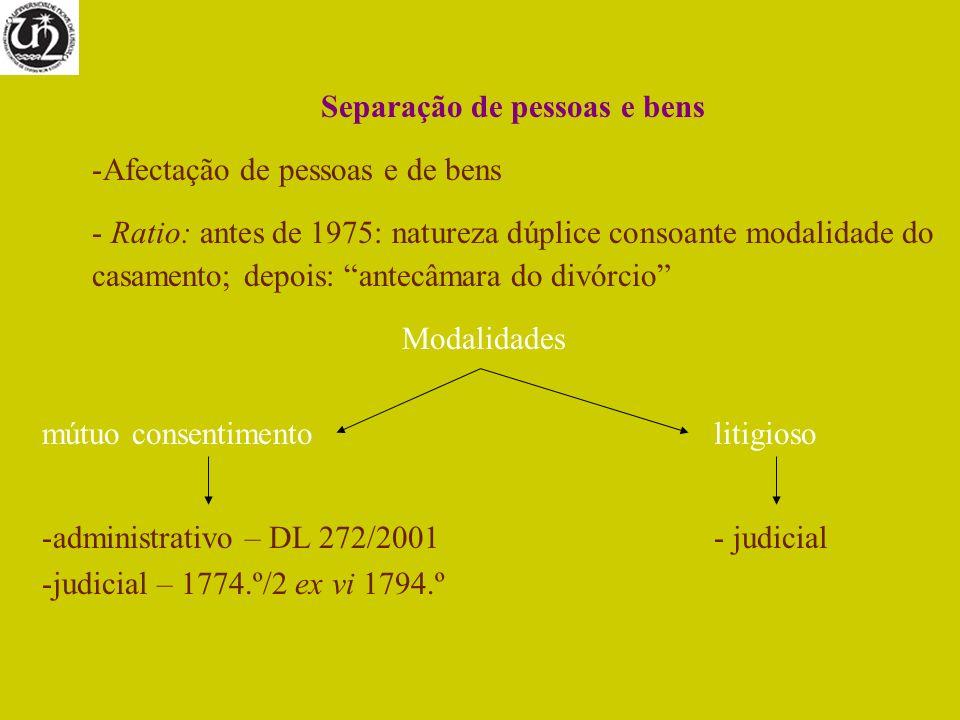 Separação de pessoas e bens -Afectação de pessoas e de bens - Ratio: antes de 1975: natureza dúplice consoante modalidade do casamento; depois: antecâ