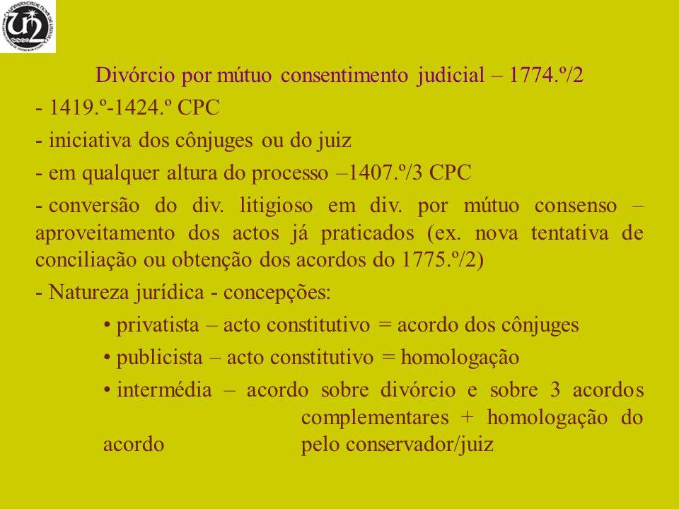 Divórcio por mútuo consentimento judicial – 1774.º/2 - 1419.º-1424.º CPC - iniciativa dos cônjuges ou do juiz - em qualquer altura do processo –1407.º