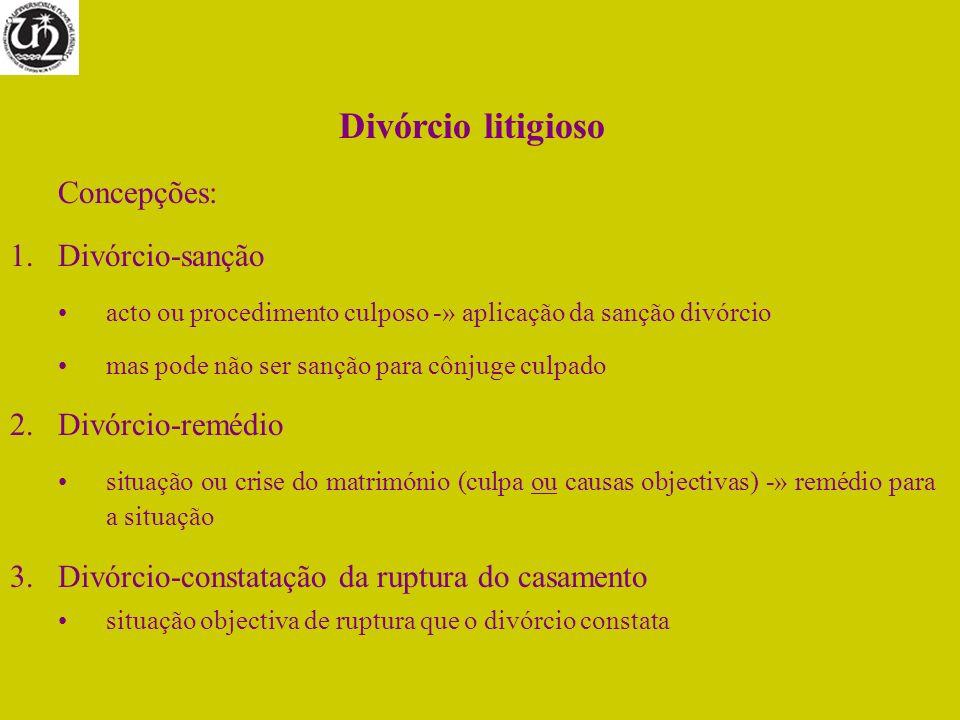 Divórcio litigioso Concepções: 1.Divórcio-sanção acto ou procedimento culposo -» aplicação da sanção divórcio mas pode não ser sanção para cônjuge cul