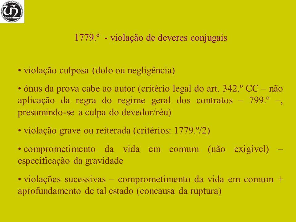 1779.º - violação de deveres conjugais violação culposa (dolo ou negligência) ónus da prova cabe ao autor (critério legal do art. 342.º CC – não aplic