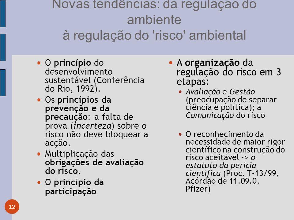 Novas tendências: da regulação do ambiente à regulação do risco ambiental 12 O princípio do desenvolvimento sustentável (Conferência do Rio, 1992).